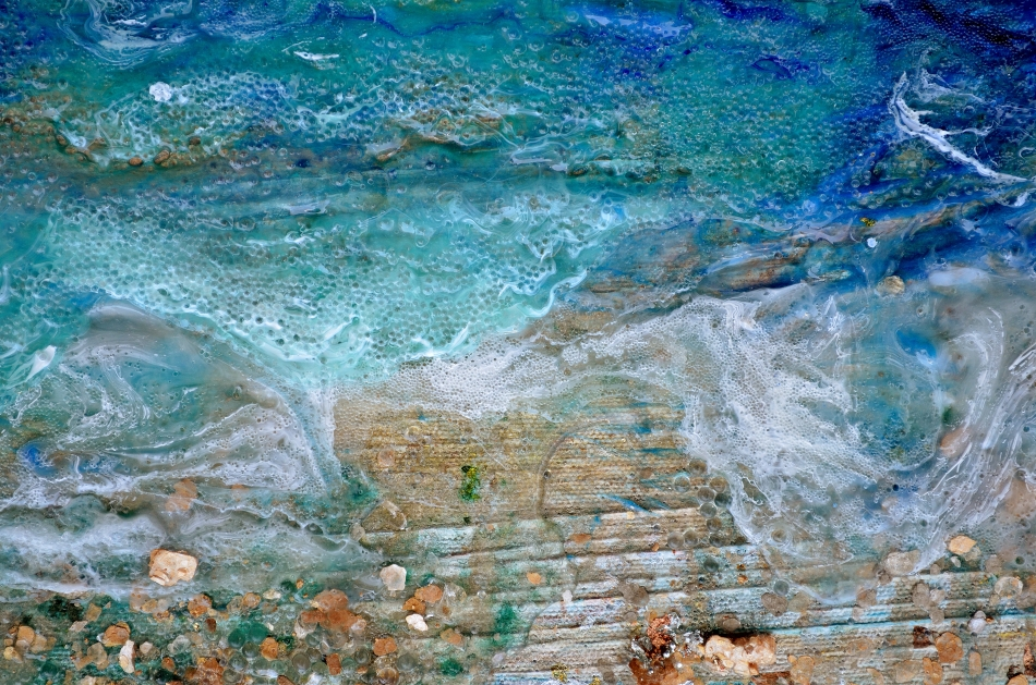 #36: Detail from Rhapsody on the Sea, Acrylic with Mixed media on canvas; Inquire rv@nerdlypainter.com