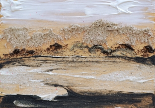 Away, 5x7 inches, clear acrylic gel medium with dry pumice and oxide powders on sealed hardwood artists panel