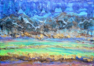 Landscape Layers, 18 x 24, acrylic with mixed media and extrusion on Canvas; inquire rv@nerdlypainter.com