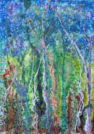 Sylvan Fantasy, acrylic with glass and flip pigments on sealed primed hardwood artists painting panel, 24 x 28 in;