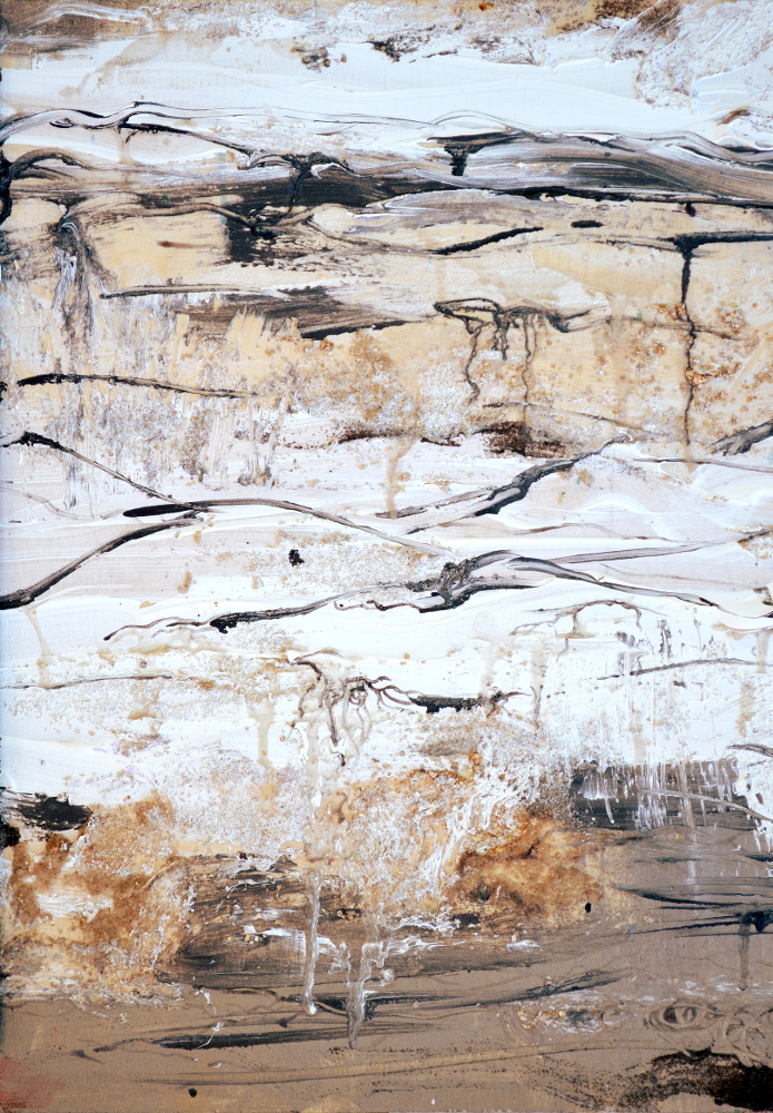 Snow Melt, 18 x 24 in,  acrylic with oxide powders, mica flakes and thermochromic pigment on wood panel,