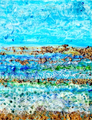 Filigree Shoreline, acrylic on canvas with extrusion, retroreflective glass and mixed media, 16 x 20 inches