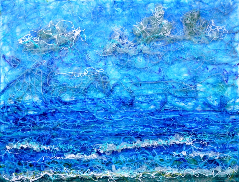 Gelid Seascape, revised - 16 x 20 in, acrylic with glass on stretched canvas - reinvented landscape