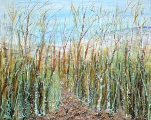 dune path painting with extruded acrylic ribbons and mixed media
